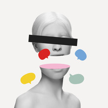 Artwork. Close-up Young Woman's Split Face, Head With Social Media Signs Isolated On Light Background. Human Emotion, Split Personality, Mental Problems Concept.