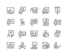 Simple Set Of Business Training Related Vector Line Icons. Contains Such Icons As Presentation, Class, Mentoring And More. Editable Stroke. 48x48 Pixel Perfect.