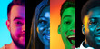Leinwandbild Motiv Cropped portraits of group of people, men and women on multicolored background in neon light, collage.