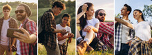 Composite Image Of Photos Of Group Of Friends, Young Men And Women Walking Together In Summer Forest, Meadow. Lifestyle, Friendship, Nature