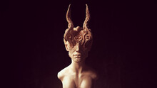 Alien Head Demon Queen Statue Ancient Face Art Sculpture 3d Illustration Render