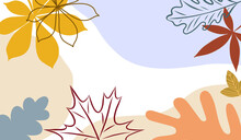 Hand Drawn Autumn Abstract Background. Modern Design With Fall Leaves