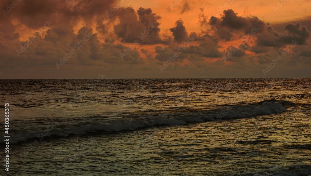 morze, poranek, fale, chmury