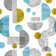 Seamless Abstract Trendy Pattern With Circles. Geometric Background With Watercolor Shapes