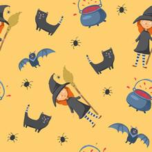 Halloween Seamless Pattern Design. Cute Cartoon Elements, Holiday Background, Vector Illustration