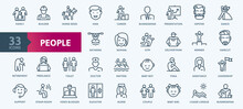 People -  Thin Line Web Icon Set. Outline Icons Collection. Simple Vector Illustration.