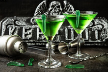 Green Witch Drink  In Glass With Worms, Halloween Party  Idea