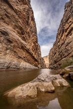 Exposed Rock In Santa Elana Canyon And The Rio Grande