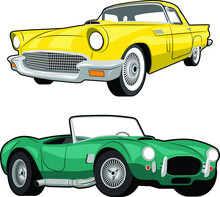 Classic Cars Yellow And Green Vector