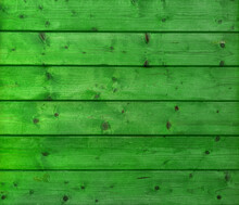 Texture Of Green Wood Plank Wall. Background Of Wooden Surface