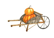 Watercolor Autumn Postcard With A Hand-drawn Cart And Pumpkins Isolated On A White Background.