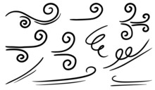 Doodle Of Wind Gust Isolated On A White Background. Hand Drawn  Vector Illustration.