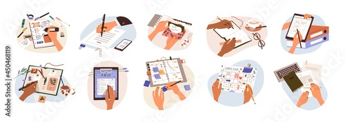 Set of hands holding pens and pencils, writing letter on paper, taking notes in notebook, filling diary and planners, signing business documents. Flat vector illustration isolated on white background