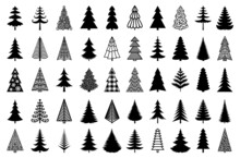 Christmas Tree Black Silhouette. Vector Set Template For Laser, Paper Cutting. Decorative Ornate Illustration. Trees For Cards, Flyers, Print. Modern Design For Winter Holidays. Home Decoration.