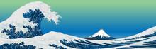 Big Wave. Ukiyo-e Style, Ukiyoe (Japanese Woodblock Prints), Sea, Wave, Mt.fuji, Vector Illustration, Copy Space, Katsushika Hokusai, Landscape, Web Header, Banner, Background, Mountain