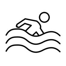 Swimming Vector Line Icon Design