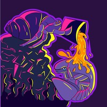 Neon Illustration Of A Malevolent Hermit Crab Pouring A Bucket Of Molten Lava Onto A Balled Up Isopod. Funny Vector With Ocean Crustacean Creatures.