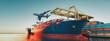 Leinwandbild Motiv ariport to seaport cargo logistics via ground trrandsportation in container yard. 3d render and illustration