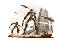 Cyborgs On Battle Field