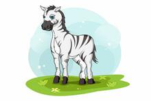 Funny Zebra Walking In The Underbrush Vector