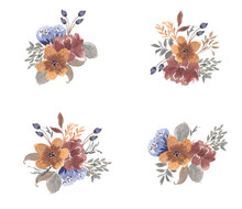Autumn Dried Floral Rustic Watercolor Collection