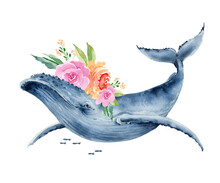 Watercolor Illustration Of Blue Whale With A Bouquet Of Flowers, Hand Painted For Design And Greeting Cards