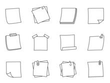 Collection Of Note Paper Outline Icon.