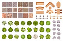 City Park Landscape Design Map Elements Top View. Garden Trees And Plant, Benches, Road Path Tile And Rocks From Above. Park Plan Vector Set