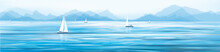 Vector Blue Sea View And Yachts.