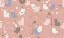 Seamless Pattern With Baby Pink Background And Coffee Shop Elements Inspired By The Kawaii Style Originated In Tokyo, Japan