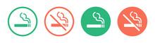 Smoking Area And Non Smoking Area Icon Symbol On Circle Design.