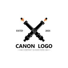 Cannon Logo Vector Icon, Army War Weapon, Bomb, Explosive Device, Royal Guard, Retro Vintage