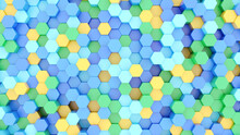 Abstract Background Multicolored Hexagons Random Arrangement Pastel Colors