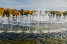 Fountain In Tsaritsyno Park On Autumn Day. Moscow. Russia