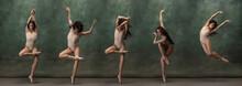 Young Graceful Tender Ballerina On Dark Green Studio Background. Composite Image Of Photos Of Flexible, Emotive Dancer.