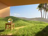 Fototapeta Perspektywa 3d - Surreal art concept of a house in the desert