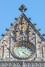 Wall Figure Of The Knight At Main Facade And Clock Side Of The Catholic Cathedral In Magdeburg, Germany, Closeup