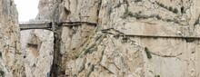King's Little Pathway, Walkway Along The Steep Walls, Narrow Gorge In El Chorro, Ardales,