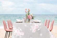Wedding Table Setting On Beach