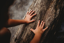Close Up Of Hands On Piece Of Wood Outside By The Water In Summer