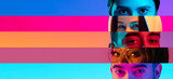Collage of close-up male and female eyes isolated on colored neon backgorund. Multicolored stripes. Concept of equality, unification of all nations, ages and interests