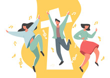 People Dancing In Praise Of God Religious Concept, Modern Vector Concept, Can Be Used For Design And Media.