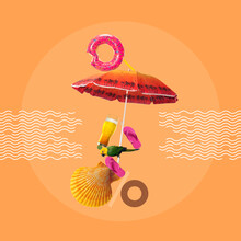 Rest On The Beach. Creative Composition With Beach Umbrella, Flip-flops, Beer And Shell Over Orange Background