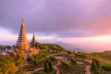 Landscape Panorama Of Two Pagoda (noppha Methanidon-noppha Phon Phum Siri Stupa) In An Inthanon Mountain, Chiang Mai, Thailand