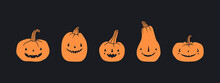 Different Pumpkins. Main Symbol Of The Happy Holiday Of Halloween. Orange Pumpkin With Various Funny Faces. Template For Your Design. Hand Drawn Trendy Vector Illustration. All Elements Are Isolated