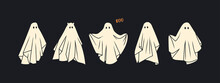 Set Of Cloth Ghosts. Flying Phantoms. Halloween Scary Ghostly Monsters. Cute Cartoon Spooky Characters. Holiday Silhouettes. Hand Drawn Trendy Vector Illustration. All Elements Are Isolated