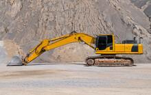Excavator Parked At Gravel Mine In Thailand