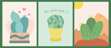 Set Of Posters Or Cards With Cute Cacti On A Desert Background.  Plants And Nature.