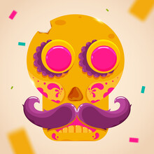 Beige Figure Yellow Skull Cinco De Mayo Mexican National Day Illustration Vector