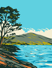 Art Deco Or WPA Poster Of Inveruglas Isle Located In Loch Lomond And The Trossachs National Park, Scotland, United Kingdom Done In Works Project Administration Style.
